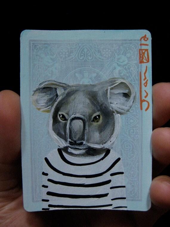 Koala portrait N7 on a playing cards. Original acrylic painting. 2012