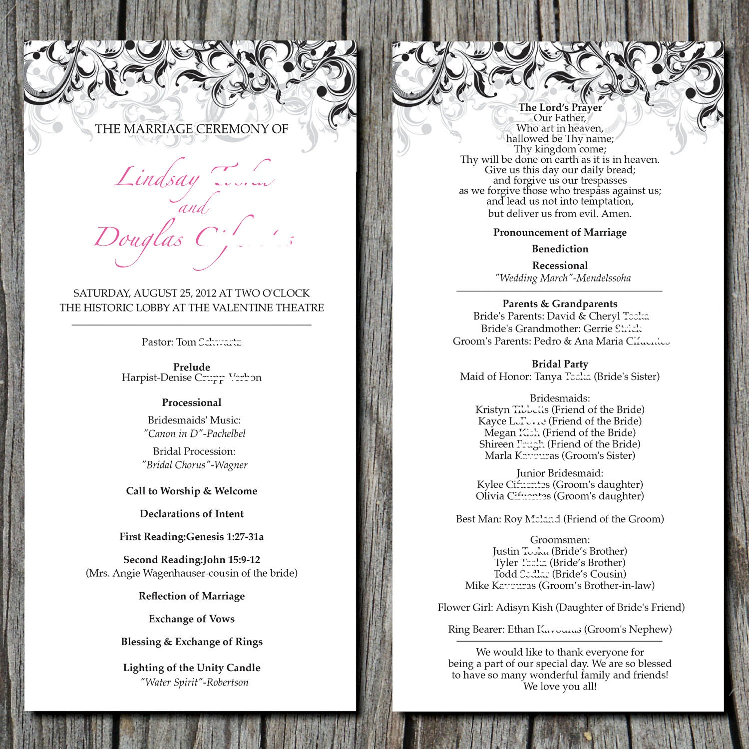 wedding party program template selo l ink co