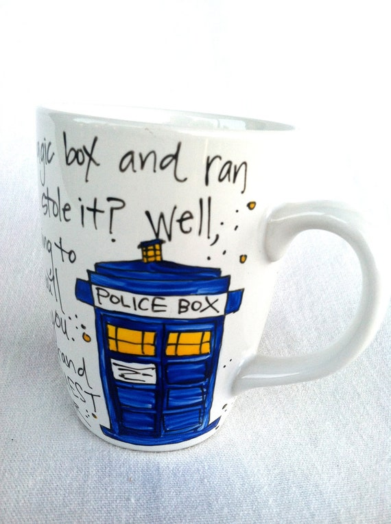 """Ode to the TARDIS - Doctor Who Eleventh Doctor Quote Mug """"Brand new and ancient, and the bluest blue ever"""" - Medium white mug"""
