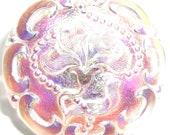 27mm Transparent Pink Iridescent Czech Glass Button-Iris