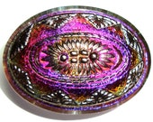 XL 32mm Oval Purple and Pink Czech Glass Button-Iridescent Glass-Silver Accents