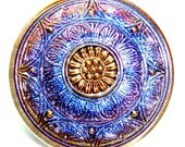 XL 33mm Purple and Pink Czech Glass Button-Iridescent Glass-Gold Luster