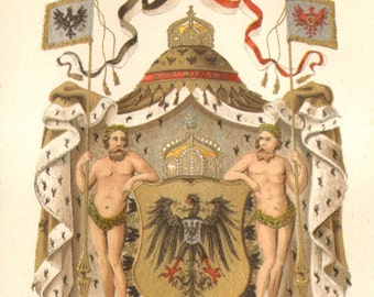 1887 The Imperial Coat of Arms and Empire's Eagle, German Empire Original Antique Chromolithograph