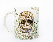 Sugar Skull Mug - handpainted ceramic mug