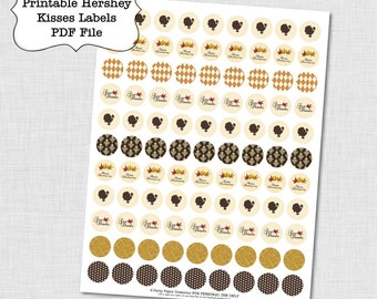Thanksgiving Hershey Kisses Sticker Label Collage Sheet Instant Download - Turkey Day Kisses Labels - Thanksgiving Stickers PDF