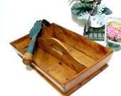 Vintage Wooden Tote Cutlery Farmhouse Tray Rustic Wood Box Kitchen Home and Garden