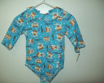 Onesie, Princess Puppy, print on blue, Long Sleeves, Only 2 left, Size 18-21 lbs., Ready to Ship, Clearance Sale
