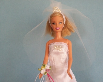 Bridal Gown Vintage Style Veil & Bouquet for 11 1/2 inch fashion doll, Ready to Ship, Doll Clothes