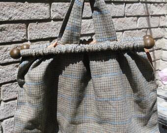 Vintage Handbag - Women's Handbag - Wood and Fabric Handbag - Wool Check Knitting Bag -