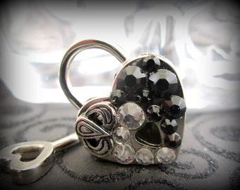 Heart Lock, Embellished heart  lock, working lock, lock and key, Black Heart