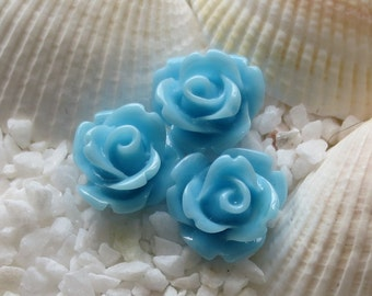 Resin Rose Flower Cabochon 10mm - 50 pcs - Sky Blue