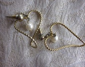 CLEARANCE Quaint Whimsical Twisted Heart Rope and Pearl Vintage Earrings, Gold and Ivory Pierced Earrings