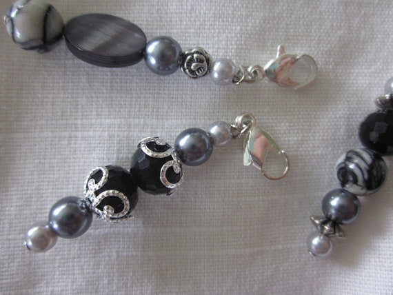 Zipper Pulls, Beaded Set of 3 Made to Order, Choose Brown Theme or Gray Black Theme, Lobster Clasp