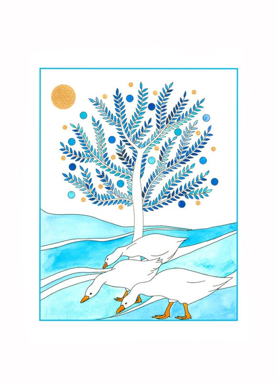 Art print, 10 x 8, Illustration, Drawing, Winter Scene, Blue and White, Geese, Tree, Wall Art, Ink and watercolor, Birds, Nature