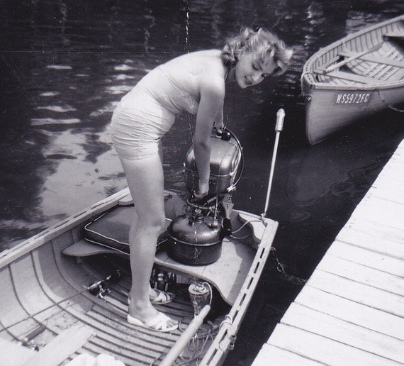 Start My Engine- Girl in a Boat- 1960 Vintage Photograph