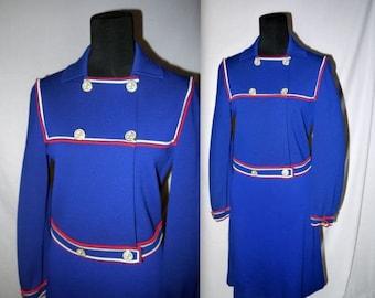 Agent Mod .... vintage 60s mod suit dress // nautical sailor knit / 1960s mad men / Gino Paoli skirt jacket set ...  S M / waist 30