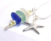 Natural Maine Sea Glass Necklace - Stacked White, Aqua and Cobalt Blue with Starfish Charm