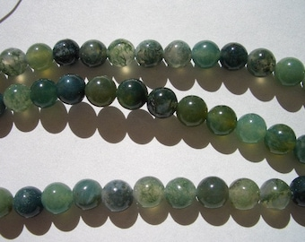 Natural Moss Agate beads, round 6mm, natural gemstone beads, great quality 6mm gemstone beads, Agate beads, Moss Agate, green, forest green