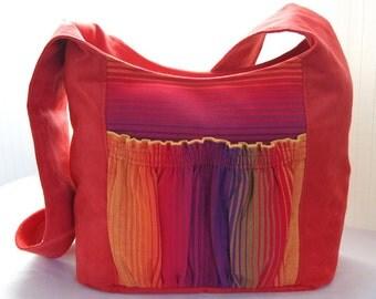 Bag Babywearing Autumn Red Tote Bag with Rainbow Girasol plus FREE LANYARD