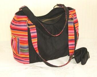 READY TO SHIP!!! Black Big Diaper Bag  Shoulder bag Tote bag with Babylonia Fruit Coctail
