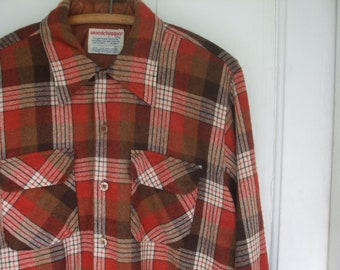 Plaid Shirt Men's Lumberjack Autumn Rust Brown White Plaid ON SALE 66% Off