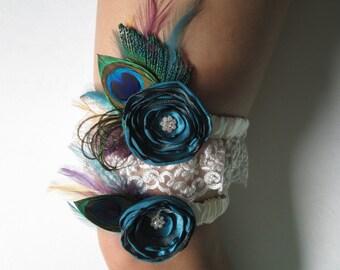 Teal Wedding Garter Set, Peacock Garters, Champagne & Teal Garter, Ivory Lace Garters, Vintage Steampunk Weddings