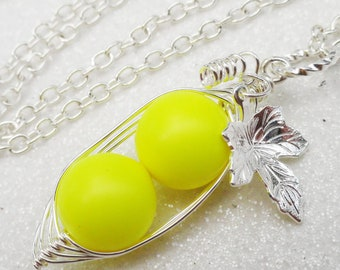 Pea Pod Necklace, Two peas in a pod necklace, neon yellow pearls, silver pea pod necklace