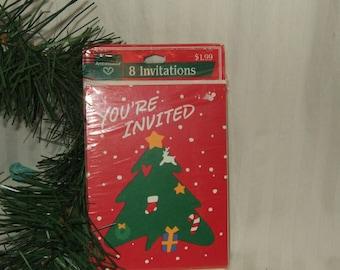 Vintage invitations Christmas party invitations Ambassador invitations Hallmark New old Stock holiday party invitations 1970s invitations