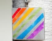 Pretty as a Rainbow Square Glass Pendant/ Handbag Charm