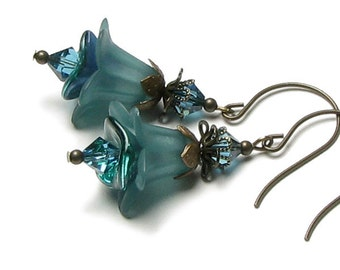 Turquoise Romance Floral Swarovski Crystal Antique Brass Earrings, Blue Green Acrylic Flower Earrings, Teal Lucite Earrings, Romantic Gift