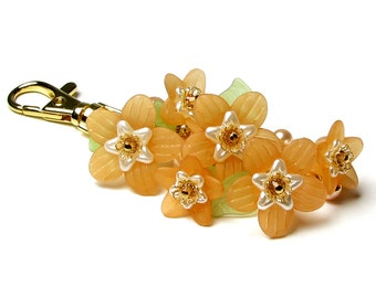 Peaches and Cream Floral Crystal Pearl Cluster Handbag Charm