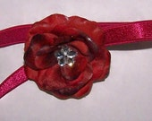 Infant baby Small Burgundy rose with satin stretch headband christmas