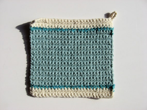 100% cotton pot holder aqua