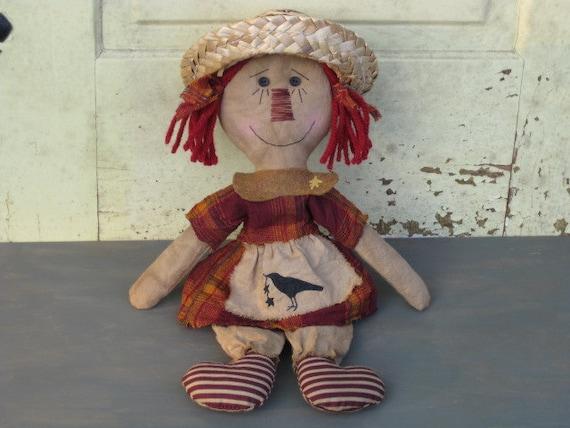 Primitive Raggedy Ann Doll with Crow on Apron - Fall - Fabric  - Shelf Sitter