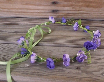 Boho Hippie Bridal Headpiece Purple flower Crown Wedding Hair Accessories Headwreath Coachella Renaissance Hair Wreath Ready ship
