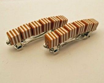 Retro Stripe Barrettes - Brown Sugar - Set of 2 - acrylic retro cube barrettes for girls, teens, and women by reynared
