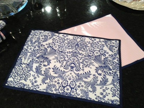 Wipeable laminated Oilcloth Place mats in Blue by  : il570xN3866778028llf from www.etsy.com size 570 x 428 jpeg 77kB