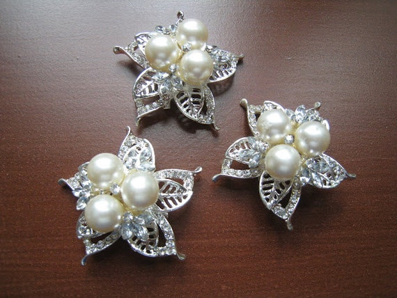 Pearl and Rhinestone brooch  - perfect for DIY brides or crafting - Set of 3