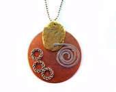 Mixed Metal Circle Necklace- -Silver Spiral-Hammered Metal