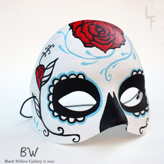 Red Rose Sugar Skull Day of the Dead Hand painted Mask by Lupe Flores