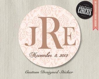 Custom Wedding Stickers - Fleur De Lis Monogram Theme