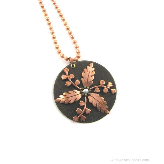 Copper Leaf Pendant (Simple Necklace, Everyday Jewelry)
