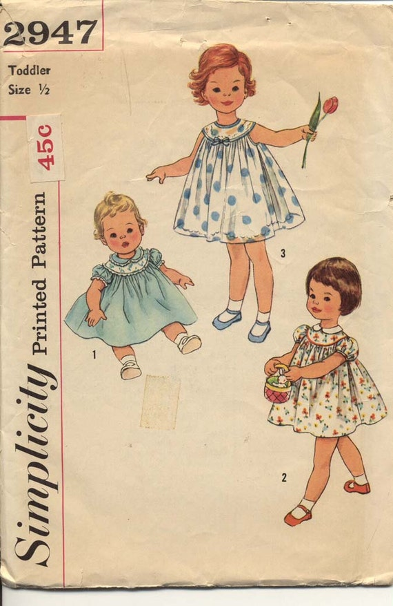 Simplicity 2947 Toddlers 1950s Yoked Dress Pattern Sheer Overlay Sleeve and Neckline Variations Childrens Vintage Sewing Pattern Breast 19