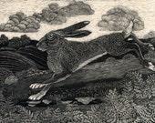 Running Hare - Fine Art Print from an original Scratchboard design