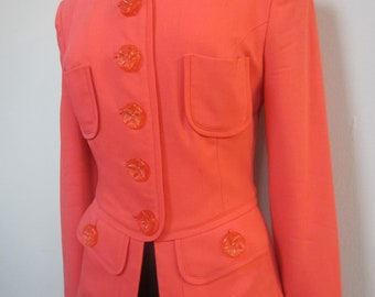 Stylish rare collectible pale tangerine fitted wool jacket by Gemma Kahng circa early 1990's