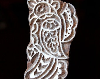 HALF PRICE Hand Carved Indian Wood Textile Stamp Block- Stylized Parrot
