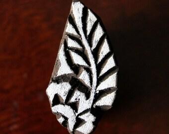 HALF PRICE SALE Hand Carved Indian Wood Textile Stamp Block- Floral Motif