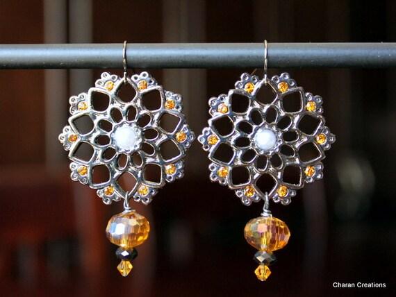 Flower Mandala and Amber Earrings