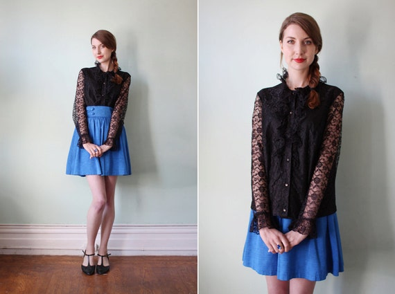 vintage 1960's black lace long sleeved ruffle blouse / size m