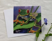 Red Eyed Tree Frog, GREETING CARD - art frog painting, frog art, wildlife art, green red blue